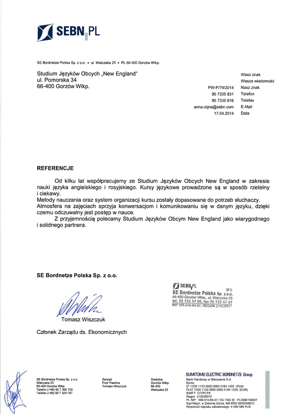Referencja od firmy SE Bordnetze Polska Sp. z o.o.
