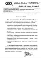 """Referencja od firmy Zakłady Górnicze """"Trzebionka"""" S.A."""