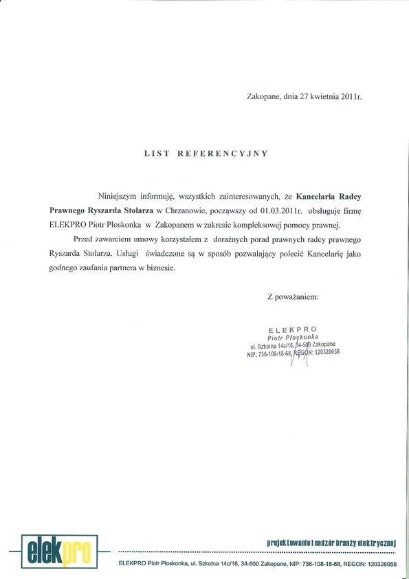 Referencja od firmy ELEKPRO Piotr Płoskonka w Zakopanem