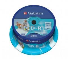 Płyty CD-R Verbatim 52x 700MB (Cake 25) WIDE PRINTABLE - redFOX - Sprzedaż wysyłkowa Łukasz Lisowski Wągrowiec