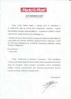 Referencja od firmy Media Markt Galeria Viktoria Ul. 1-go Maja 64, 58-300 Wałbrzych