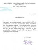 Referencja od firmy Indywidualna Specjalistyczna Praktyka Lekarska Michał Silber
