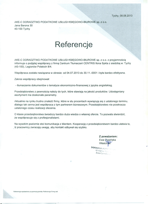 Referencja od firmy AKE-C DORADZTWO PODATKOWE USŁUGI KSIĘGOWO-BIUROWE sp. z o.o.