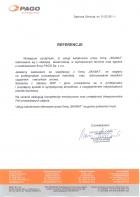 Referencja od firmy PAGO sp. z o.o