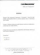 Referencja od firmy Przedsiębiorstwo Wielobranżowe Klimaserw Sp z o.o.