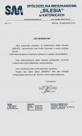 Referencja od firmy SPÓŁDZIELNIA MIESZKANIOWA SILESIA KATOWICE