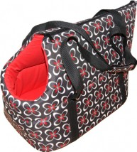 Torba czerwono-czarne kwiatki transporter dla psa lub kota nosidełko - Sklep zoologiczny Tajgerka - marseba Gniezno