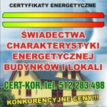 PROJEKTOWANA CHARAKTERYSTYKA ENERGETYCZNA, ŚWIADECTWO ENERGETYCZNE - Cert-Kor Łukasz Korczyński Łask