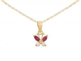 Złoty komplet biżuterii 585 motylek z cyrkoniami łańcuszek ankier -30% - LOVRIN Nowy Sącz