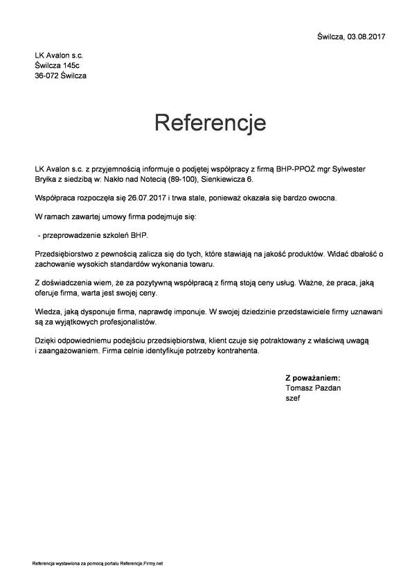 Referencja od firmy LK AVALON Rzeszów