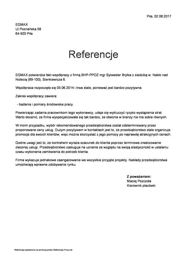 Referencja od firmy EGMAX Piła
