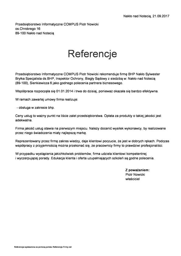 """Referencja od firmy """"COMPUS""""-Nakło"""