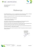 Referencja od firmy CUK Ubezpieczenia Sp. z o.o. Sp. k.