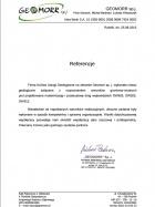 Referencja od firmy Geomorr Sp. J. Piotr Marecik, Michał Bednarz, Łukasz Wdowczyk