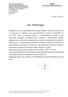 Referencja od firmy PKP PLK Zakład Linii Kolejowych w Poznaniu