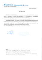 Referencja od firmy ROSMOSIS-WAWRZYNIAK Sp. z o. o.