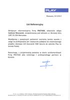 Referencja od firmy P4 Sp. z o.o.