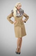 100c6613dcf1f Beżowy zimowy płaszcz damski z wielkim futrzanym kołnierzem(Płaszcze  damskie zimowe małe i duże rozmiary)