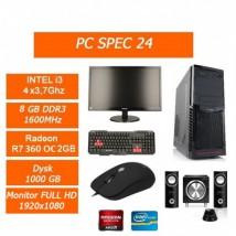 Zestaw Komputerowy Intel i3 4x3.7GHz/R7 360OC 2GB/1TB/ 8GB Monitor - PC SPEC Sp. z o.o. Gorlice