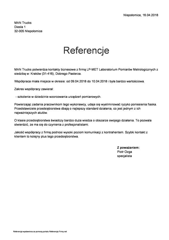 Referencja od firmy MAN TRUCKS Sp.z o.o.