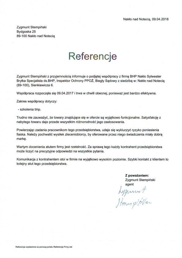 Referencja od firmy Zygmunt Stempiński Nakło