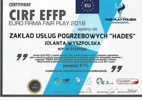 Certyfikat EURO FIRMA FAIR PLAY 2018 - Zakład Usług Pogrzebowych Hades Pionki