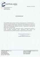 Referencja od firmy Centrum Jasna sp. z o.o.
