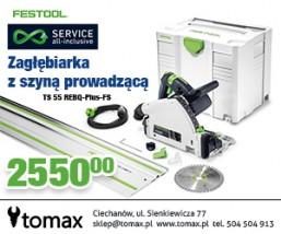 FESTOOL ZAGŁĘBIARKA TS 55 REBQ-Plus - Tomax Salon i Wypożyczalnia Narzędzi Ciechanów