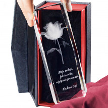 Róża 3D » Kwiat Miłości « to oryginalny pomysł na prezent urodzinowy - Statuetki 3D • Kryształy3D.pl • KSK Anna Sawoń Białystok