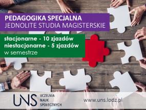 Pedagogika specjalna jednolite mgr - Uczelnia Nauk Społecznych Łódź