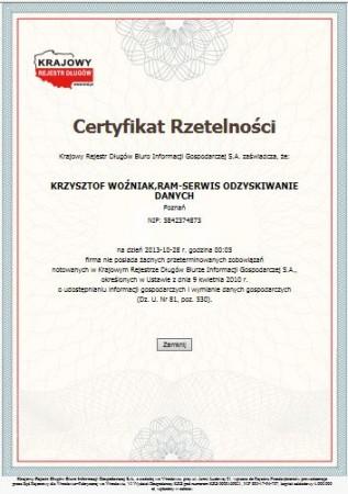 Certyfikat Rzetelna...
