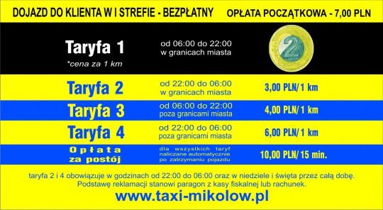 Taxi cennik