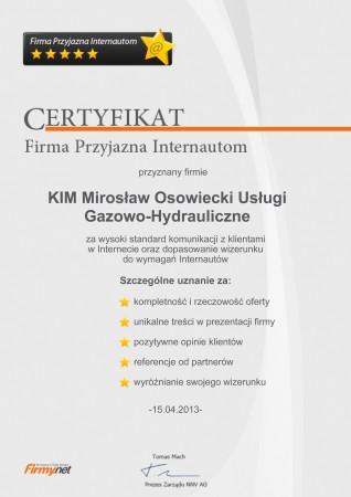 Certyfikat Firmy...