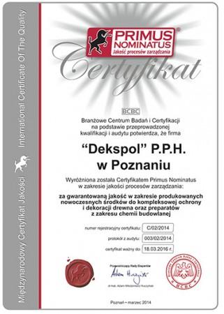 Certyfikat PRIMUS...