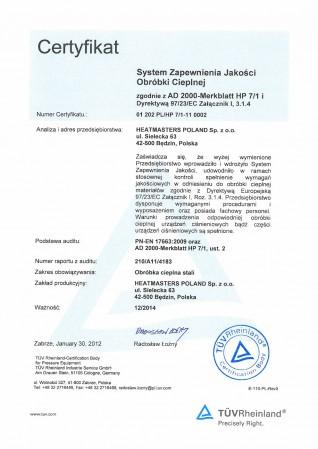 Certyfikat TUV Cert