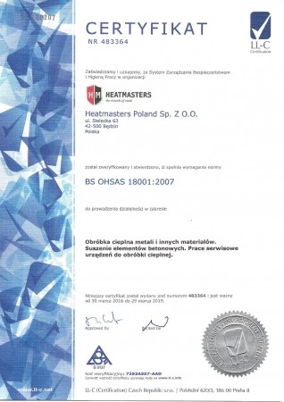 certyfikat OHSAS...