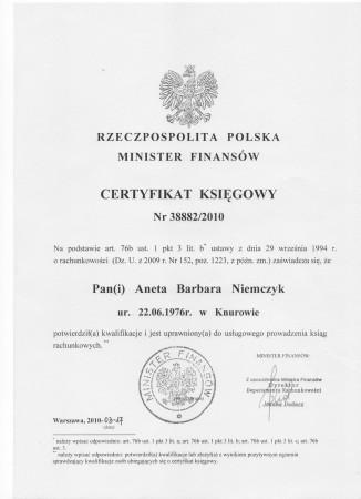 Certyfikat księgowy...