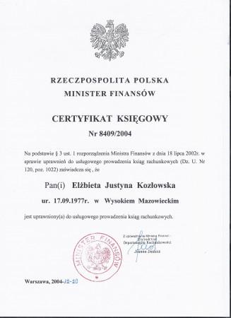 Certyfikat Ministra...