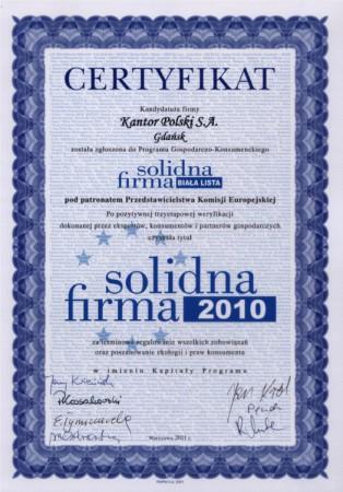 Certyfikat Solidna...