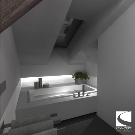 Projekt łazienki na poddaszu – Karolina Matuszewska Koncept Studio Projektowe