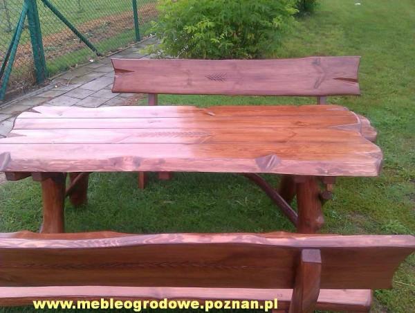 DREWNIANE MEBLE OGRODOWE KOMPLET stół + 2 ławki 6 OSOBOWY – Meble ogrodowe