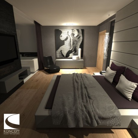 Projekt sypialni z łazienką i garderobą – Karolina Matuszewska Koncept Studio Projektowe